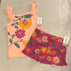 NWT Carter's tropical floral matching outfit